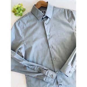 👔 Express Men's 1MX Fitted Dress Shirt Gray EUC